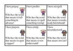 I Have Who Has Prefixes - Common Core $