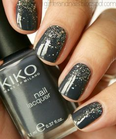 Kiko Makeup Milano | Nail Lacquer  Grey + Glitter