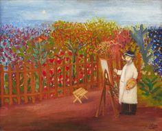 Lennart Jirlow: Impressionisten, olja på pannå, 50x61 cm - Uppsala Auktion 2015