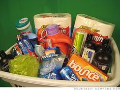 the college student   *shampoo and conditioner *toilet paper *cleaning supplies *garbage sacks *soap *toothpaste *razors