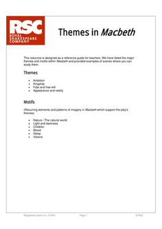 macbeth exams aqa lit gcse secondary macbeth  macbeth rsc themes reference
