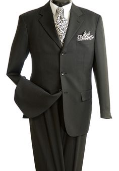 Cooper and Nelson Mens 2 Piece 100% Wool Executive Suit - Thin Stripe - Clothing Connection Online