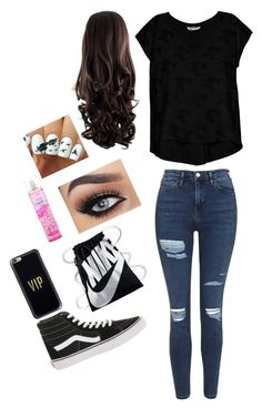 """""""Untitled #43"""" by skielerh on Polyvore featuring Topshop, Vans, Bobeau, NIKE and Casetify"""