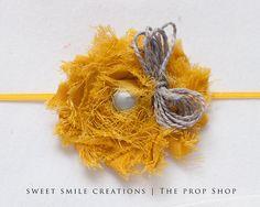 Yellow Shabby flower Headband with bow. $8.00, via Etsy.