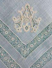 Антикварный тонкий носовой платок из меха Mechlin 19-го века - монограмм AM,