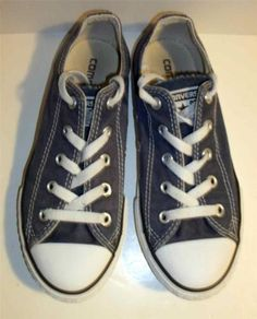 Converse All Star Low Top Shoes Blue Youth Sz 2 EUC