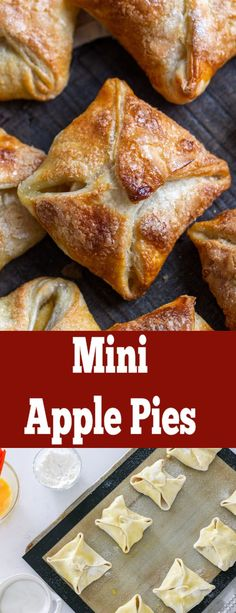 Mini apple pies that you can make at home with just 5 ingredients! applepie appleturnover applerecipe fallbaking this homemade apple pie filling only takes minutes to make and makes your apple desserts taste amazing Apple Hand Pies, Mini Apple Pies, Homemade Apple Pies, Apple Pie Recipes, Pastry Recipes, Baking Recipes, Mini Pies, Mini Apple Strudel Recipe, Quick Apple Pie Recipe