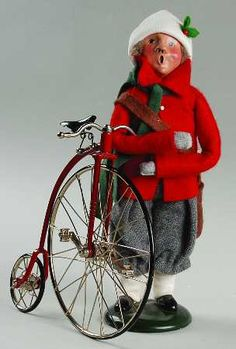Byers Choice Ltd Byers Choice Carolers at Replacements, Ltd Piece Code: NB448 Piece Name: Newspaper Boy With Bike(Older) - Nb448, No Box Size: 9 1/4 in Style: 1990