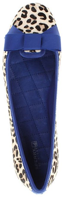 Love these Sperrys - snow leopard and cobalt blue trim! http://rstyle.me/~1kMh8