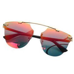d12b243216 Colorful Pilot Sunglasses Men Women Big Rimless Mirror Sun Glasses Couple  Eyewear 2018 New Fashion Glasses