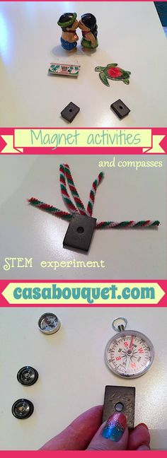 Magnet activities use compasses, iron filings, and other metal items for STEM experiments. Kids learn magnetism and forces and interactions.
