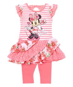 Look at this Pink Minnie Mouse Ruffle Skirt Tunic & Leggings - Toddler & Girls on today! Little Girl Fashion, Little Girl Dresses, Toddler Fashion, Girls Dresses, Girls In Leggings, Dresses With Leggings, Tunic Leggings, Disney Baby Clothes, Baby Disney