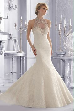 2014 Wedding Dresses High Neck Trumpet/Mermaid Chapel Train Tulle With Applique And Beads USD 299.99 VUPGQLA51D - VoguePromDressesUK