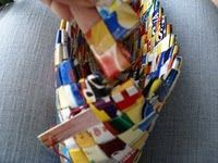 Candy wrapper or potato chip bag purse!  Summer project?