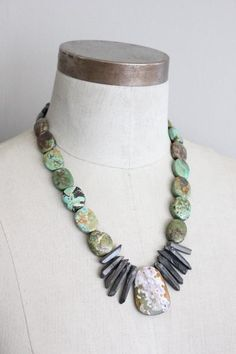 necklace with turquoise, quartz, river stones, and moss agate. African Beads Necklace, African Jewelry, Tribal Jewelry, Turquoise Jewelry, Jewelry Art, Beaded Jewelry, Beaded Necklace, Jewelry Design, Textile Jewelry