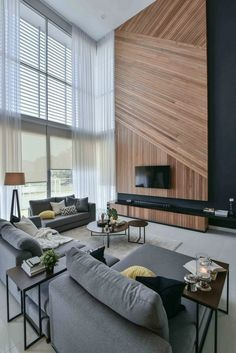 99 Optimum Wall Design Living Room Ideas Beautiful Living Room Decor 2019 The post 99 Optimum Wall Design Living Room Ideas Beautiful Living Room Decor 2019 appeared first on Curtains Diy. Living Room Wall Designs, Modern Room, High Ceiling Living Room Modern, Contemporary Living Room Decor Ideas, Farmhouse Contemporary, Modern Tv, Modern Luxury, Modern Contemporary, Beautiful Living Rooms