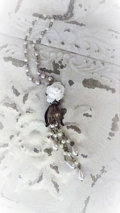 Long Tassel Necklace Vintage Pearl Necklace Assemblage
