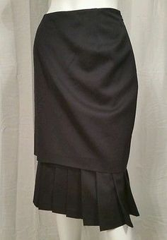 Womens Wool Carlisle Pleated Hem Skirt Size 12
