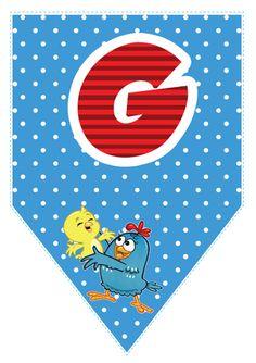 Bandeirinhas da Galinha Pintadinha com o alfabeto, números e acentos para imprimir. Lottie Dottie, Puppy Party, Happy B Day, Animal Party, Initials, Clip Art, Kids Rugs, Symbols, Printables