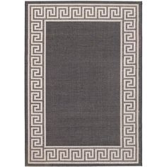 Ecarpetgallery Knossos Black Light Gray Open Field Indoor Outdoor Rug (5'3 x 7'7) (Power Loomed)
