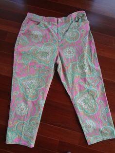 Ralph Lauren 'Lauren' Women's Pink & Green Paisley Print Pants 20W Plus