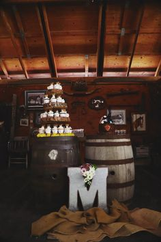 Wine Barrel Rustic Themed Wedding Dessert Table
