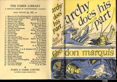 Don Marquis, Archie does his Part, London, 1936. Jacket by Edward Bawden.  http://www.fulltable.com/VTS/b/bc/a.jpg