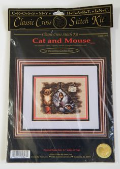 """Cross My Heart Counted Cross Stitch """"Cat and Mouse""""  CSBK-239-1 NEW Hard To Find #CrossMyHeart #Frame"""