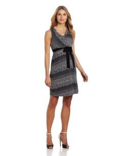 Three Seasons Maternity Women's Maternity Drape Front Print Dress,