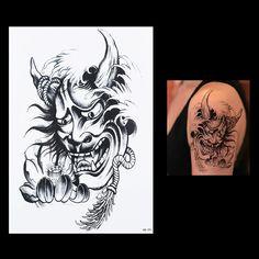 1 Sheet High Quality Lotus Flower Arm Devil Demon Tattoo HB091 Waterproof Temporary Tattoo for Women Men Body Art Sticker Charms #Affiliate