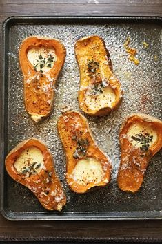 Initially roasted with their seeds in, to impart depth of flavour, these cheesy, garlicky, thyme-sprinkled beauties promise to be a big hit with kids and adults alike Food And Travel Magazine, Florida Food, Good Pie, Winter Dishes, Food Spot, Midweek Meals, Best Street Food, Hungarian Recipes, Roasted Butternut Squash