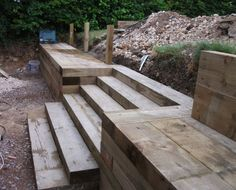 Steps, walls & Patio with new railway sleepers. Could I use my huge collection of 6x6s?