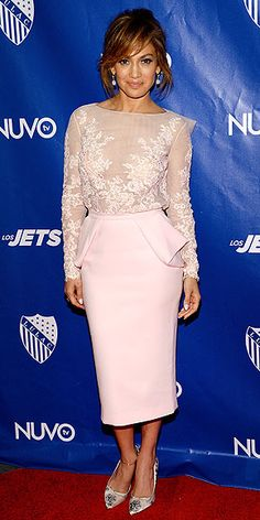 Last Night's Look: Love It or Leave It? | JENNIFER LOPEZ | A lady who lunches … in couture? Jennifer goes monochromatic, choosing a pale-pink peplum skirt and floral-embroidered top, both Zuhair Murad, for the LULAC/NUVOtv Unity Luncheon in N.Y.C.
