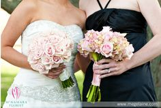 Bridal Bouquet and Bridesmaids Bouquets. Mix of beautiful pink roses and hydrangeas. Floral Designs by McNamara Florist. All Rights Reserved.