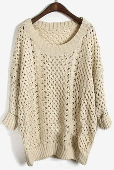 Apricot Long Sleeve Batwing Hollow Pullovers Sweater