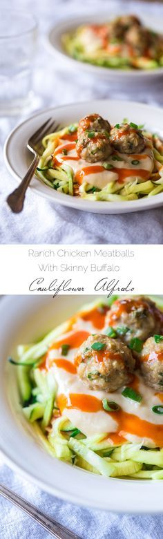 Buffalo Chicken Meatballs with Skinny Buffalo Cauliflower Alfredo - A Dinner perfect for Game Day that is SO healthy and easy! You would never know it's gluten free, low carb and PACKED with protein! | Foodfaithfitness.com | @Taylor | Food Faith Fitness