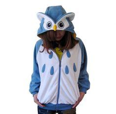 Owl hoodie cosplay animal zip sweatshirt for girls
