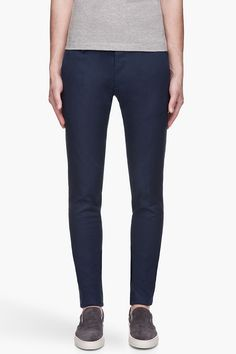 DSQUARED2 Navy blue twill Slim Sexy Steve trousers