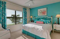 Master Bedroom in turquoise & white -- Stephanie Nolan - رویای من - Room Decor Bedroom Rose Gold, Bedroom Decor For Teen Girls, Bedroom Colors, Home Decor Bedroom, Modern Bedroom, Kids Bedroom Paint, Coastal Bedrooms, Bedroom Bed Design, Girl Bedroom Designs