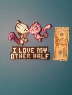 Check out this item in my Etsy shop https://www.etsy.com/listing/262942534/a-perler-of-mew-and-mewtwo-kissing-over