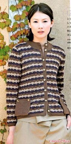 Jacheta jacquard cu buzunare de patch-uri. Cârlig. - Moda Materiale tricotate + NEMODELNYH PENTRU LADIES - Țara Mamă