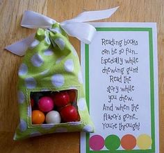 Cute reading incentive with gumballs. DARLING poem!