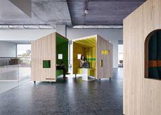 Офисные блоки из древесины: яркий молодёжный дизайн