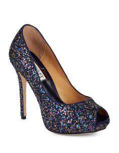 One of my favorite pairs of shoes! Badgley Mischka Pumps | Divine Plum Glitter | Hudson's Bay