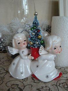 Vtg Napco Commodore Lefton Christmas Angel candle set w/ Bottle brsh tree
