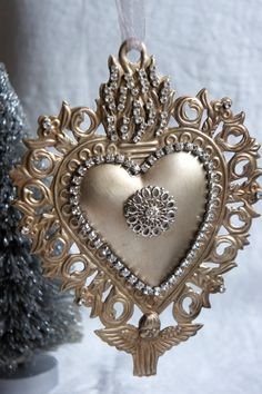 Large milagro heart ex voto sacred heart ornament adorned with vintage rhinestone chain by mysweetmaison