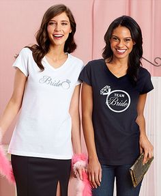 Perfect for bachelor and bachelorette parties, let these His and Hers Bridal Party T-Shirts do the talking when you're out on the town. Screen-printed designs t