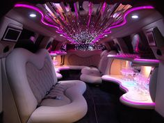 Luxury Car Rental in Dallas for Wedding Party Celebration with Style Limousine Interior, Bus Interior, Interior Ideas, Interior Decorating, Prom Limo, Limo Party, Luxury Car Rental, Luxury Cars, Pink Truck
