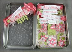 Card Candy presented in a tin - by Debbie Olson