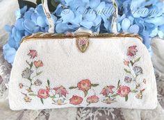 Stunning 1940s Tambour Beaded Evening Bag, Handmade in France